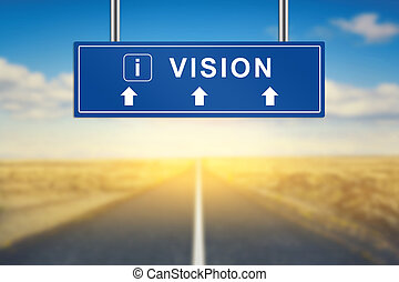 vision words on blue road sign with blurred background