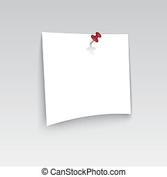 White blank paper attached with red pin.