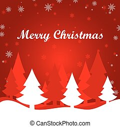 Merry Christmas card with red winter landscape