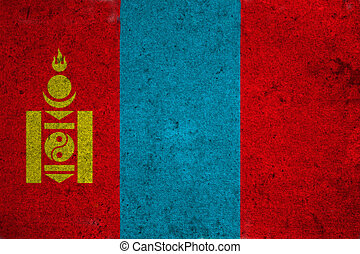 mongolia flag on an old grunge background