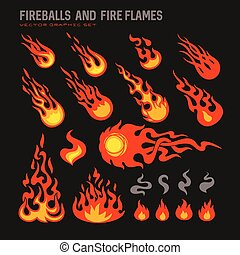 fireballs and flames icons set, isolated vector graphic...