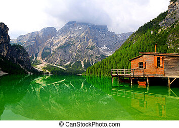 Lago di Braies ( Pragser Wildsee ) in Dolomites mountains,...