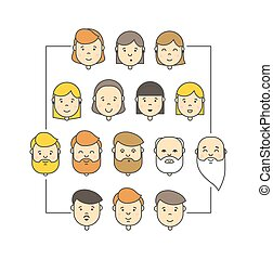 Colorful linear vector big icons collection of people. Flat...