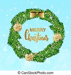 Festive Christmas wreath with gold shiny balls, beads and bow. Hand drawn holiday lettering