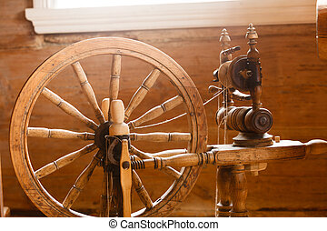 Oldfashioned wooden distaff, spindle, spinning wheel -...