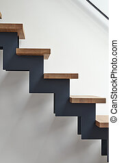 Hardwood stairs in modern living room - Hardwood stairs in...