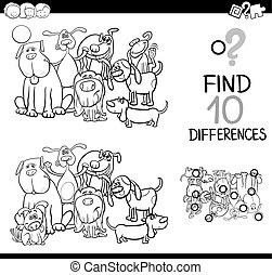 game of differences with dogs - Black and White Cartoon...