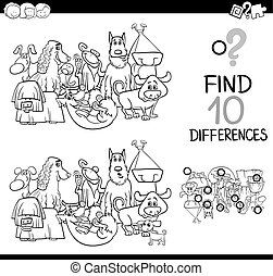 differences game with dogs - Black and White Cartoon...