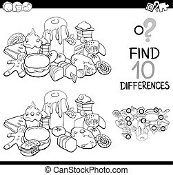 differences game with sweet food - Black and White Cartoon...