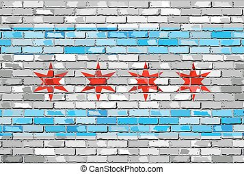 Flag of Chicago on a brick wal