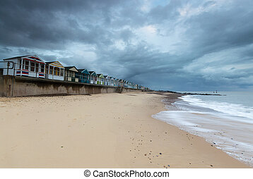 Line of Beach Huts at Southwold Pier of Beach Huts at Southwold Pier
