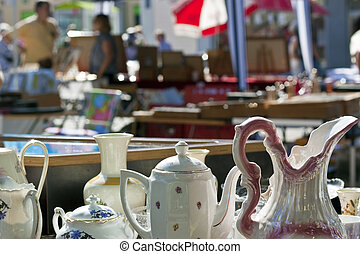 Porcelain on antique market - Antique market with different...