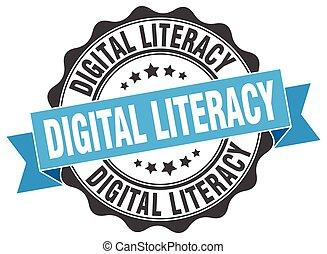 digital literacy stamp. sign. seal