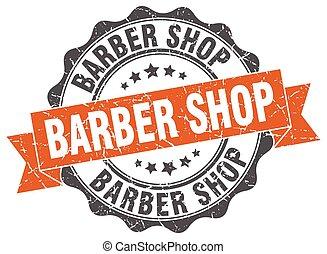 barber shop stamp. sign. seal