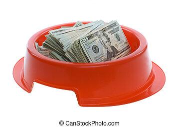 Twenty Dollar Bills in Red Dog Food Bowl - US Currency...