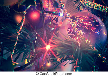 Christmas Tree Decorations Macro Filtered - Close up of...