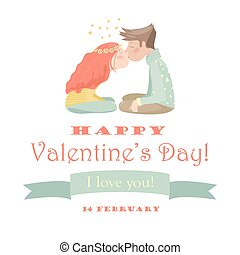 Card with kissing couple - Valentines card with kissing...