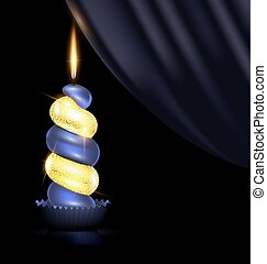dark yellow candle and drape - black background, dark drape...