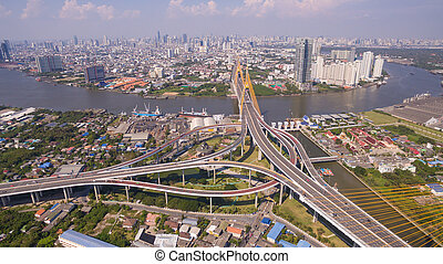 The Bhumibol Bridge Industrial Ring Road Bridge, at day...