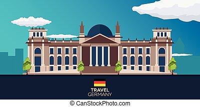 Travel to Germany. Reichstag. Vector flat illustration. -...