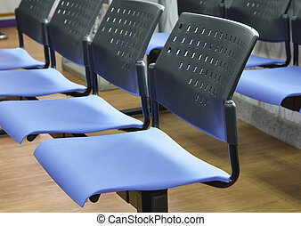 blue chairs in office