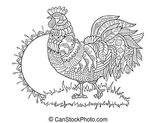 Rooster coloring book for adults vector illustration....
