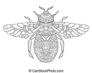 Bumblebee coloring book for adults vector illustration....