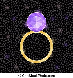 Vector Wedding Ring Icon with Bright Purple Diamond.
