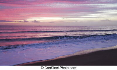 Magic pink sea sunset.