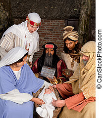 Visit of the wisemen - Live Christmas nativity scene...