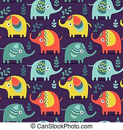 Seamless pattern with elephants, plants, jungle