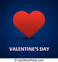 Happy Valentines Day. Heart on blue background. Vector illustration.