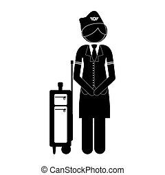 Isolated stewardess design - Stewardess icon. Airport travel...