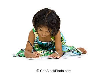cute girl writing something, isolated on white background