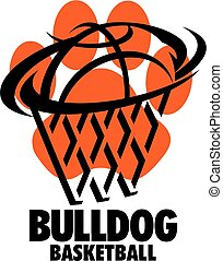 bulldog basketball team design with ball and net inside paw...