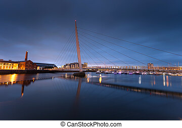 Swansea Sail Bridge - Early morning at the River Tawe and...