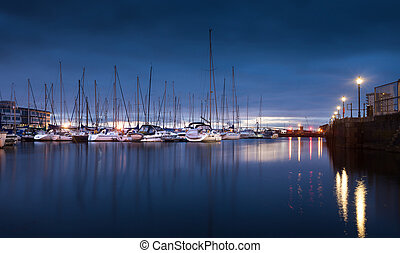 Swansea Marina Morning - Early morning lights on the River...