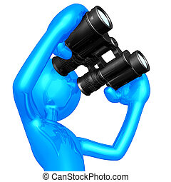 Using Binoculars - A Concept And Presentation Illustration...