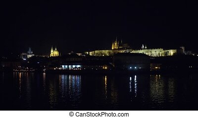 Famous Prague castle at night, Czech Republic.