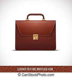brown color leather briefcase icon