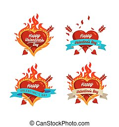 burning hearts set - Valentines Day logos design template...