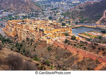 View of Amber Fort from Jaigarh Fort in Rajasthan, India....
