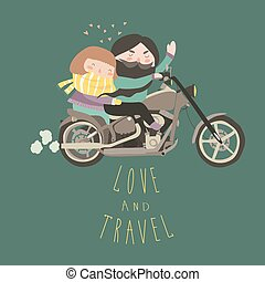 Happy couple in love riding a motorcycle. Vector...