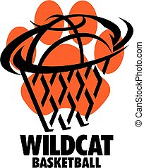 wildcat basketball team design with ball and net inside paw...