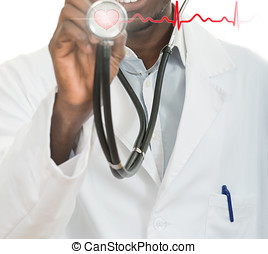 African-American black doctor man with stethoscope with hearth EKG