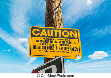 CAUTION DANGEROUS ANIMALS sign in Los Angeles, California