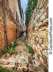 narrow backstreet in Montepulciano, Italy