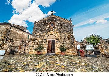 Santa Maria Assunta church in Monteriggioni, Italy