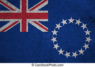 cook islands flag on an old grunge background