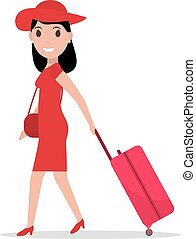 Vector cartoon fashion woman with travel luggage